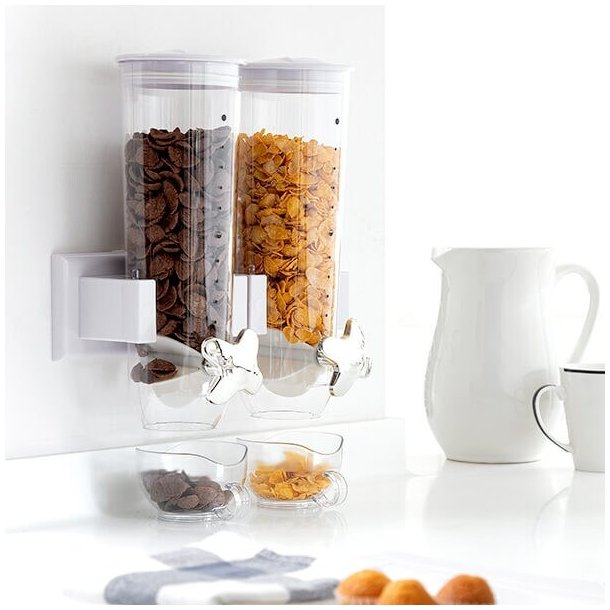 Vægmonteret dobbelt morgenmadsbeholder