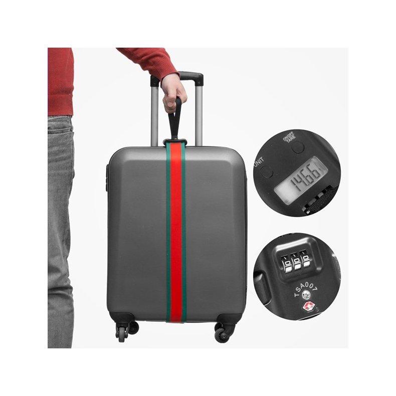 Bagagestrop med integreret vægt og sikkerhedskode
